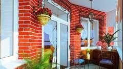 Фарбування стіни з цегли на балконі
