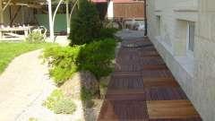 Пристрій вимощення навколо будинку з бруківки і тротуарної плитки
